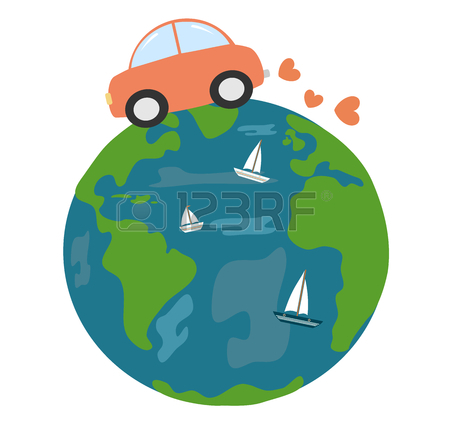 450x423 Cute Cartoon Earth Planet With Daisy Flowers Concept Vector