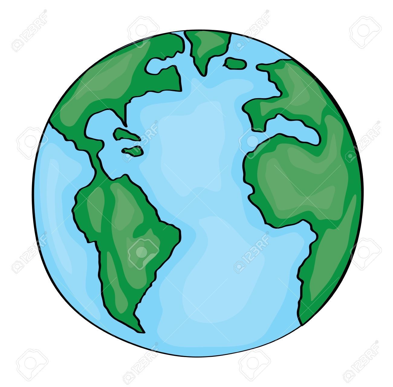 1300x1281 Earth Cartoon 2d. Vector Stock Photo, Picture And Royalty Free
