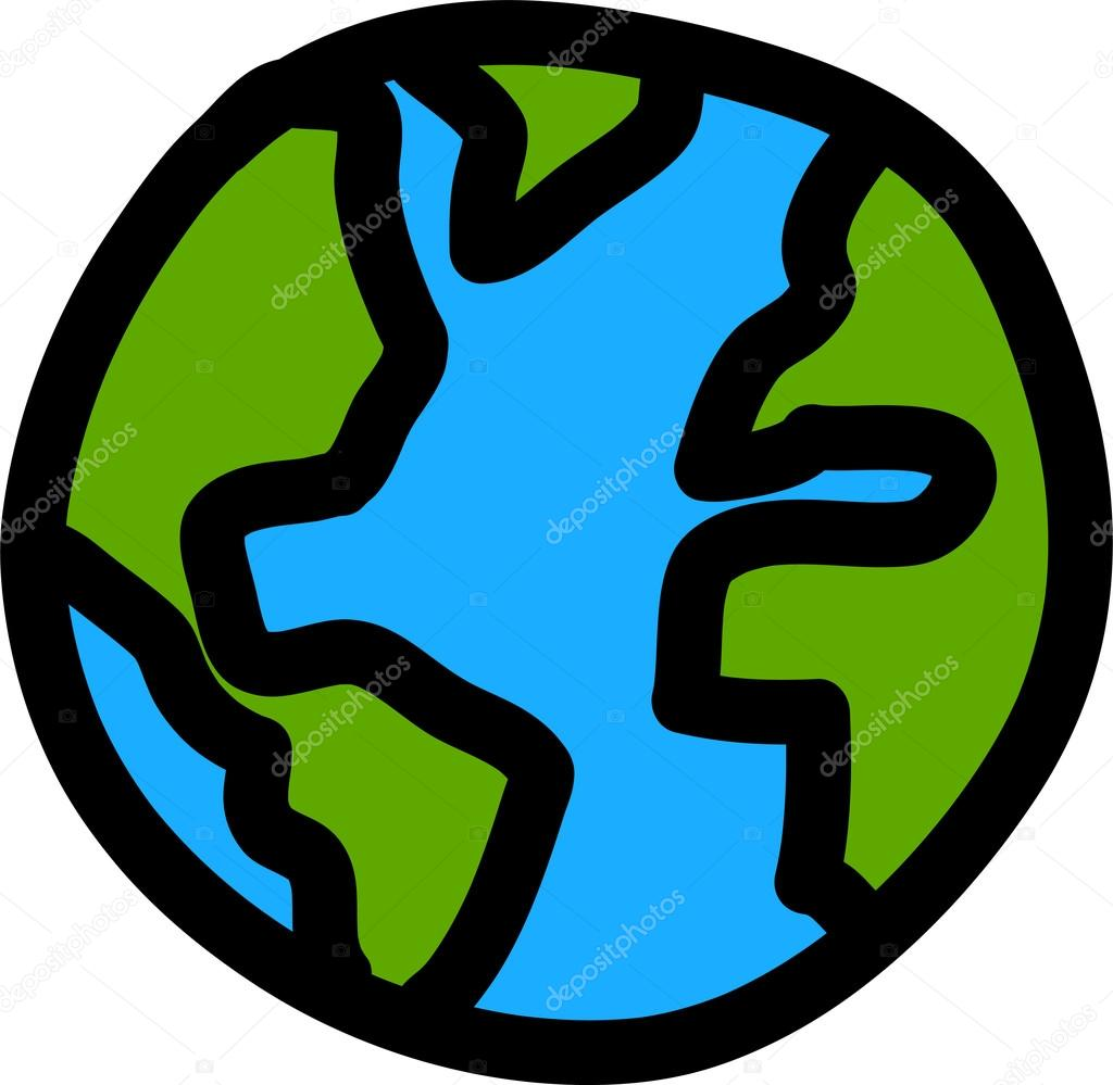 1024x999 Planet Earth Hand Writing Cartoon. ( Credit Nasa) Stock Vector