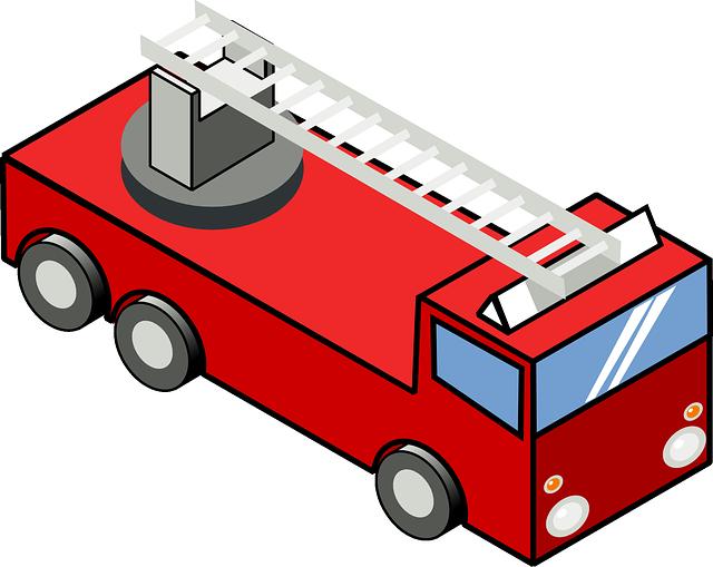 640x509 Fire, Engine, Cartoon, Truck, Ladder, Trucks, Iso