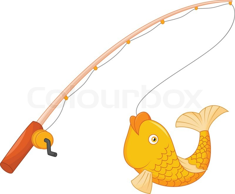 800x662 Vector Illustration Of Cartoon Fishing Pole With Hook And Fish