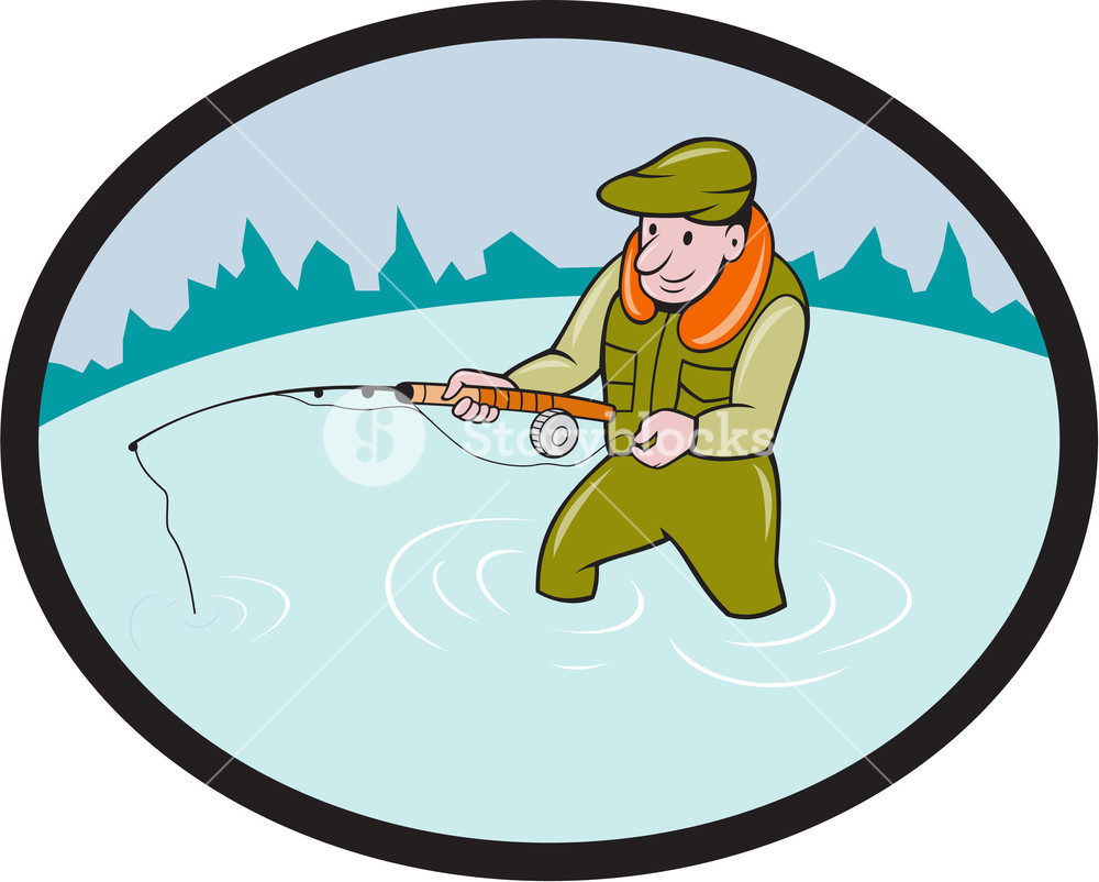1000x802 Illustration Of A Fly Fisherman Casting Fly Fishing Rod Viewed