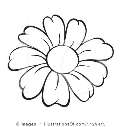 Cartoon Flower Clipart Black And White