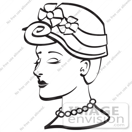 450x450 Royalty Free Black And White Cartoon Clip Art Of A Pretty Young