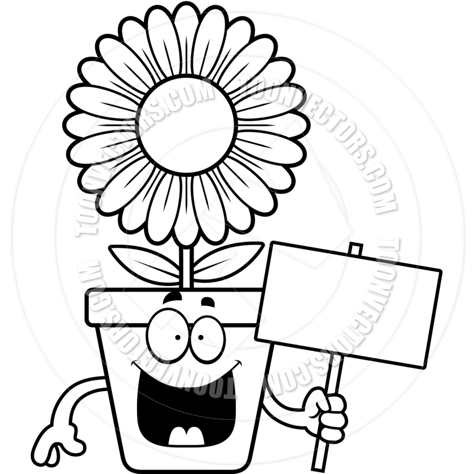 940x940 Cartoon Flowerpot Sign (Black And White Line Art) By Cory Thoman