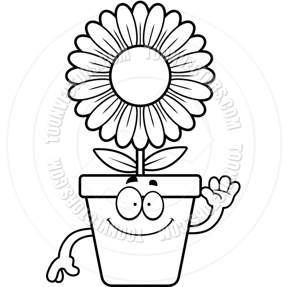 940x940 Drawn Pot Plant Black And White