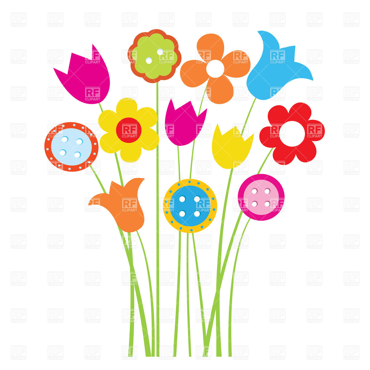 1200x1200 Cute Colorful Cartoon Flowers Royalty Free Vector Clip Art Image