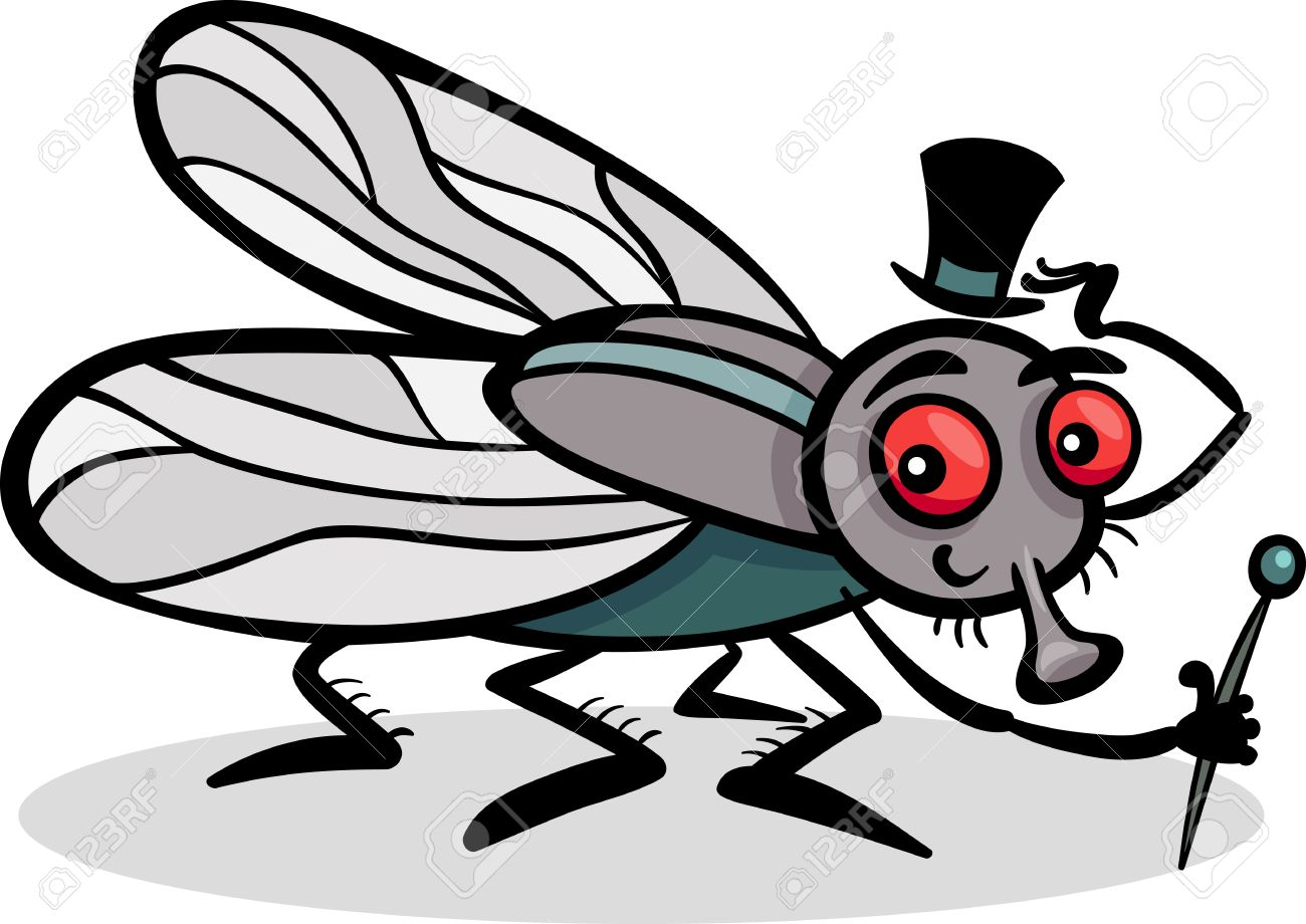 1300x920 Cartoon Illustration Of Funny Fly Or Housefly With Hat And Cane