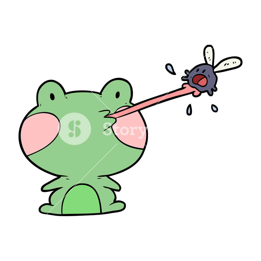 1000x1000 Cute Cartoon Frog Catching Fly With Tongue Royalty Free Stock