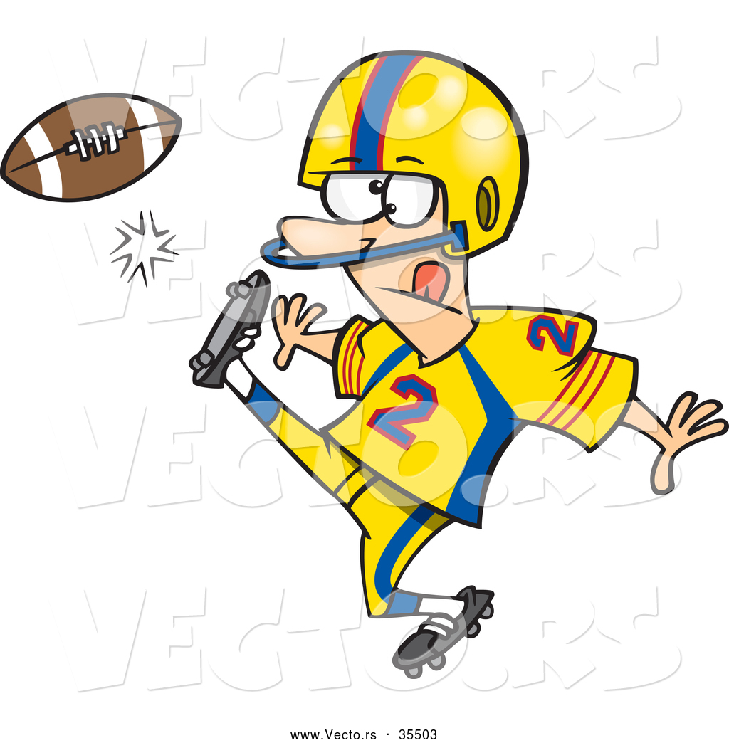 1024x1044 Vector Of A Cartoon Football Player Kicking The Ball By Toonaday