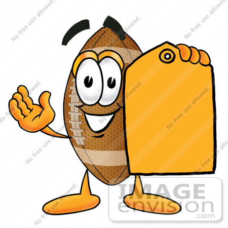 450x450 Clip Art Graphic Of A Football Cartoon Character Holding A Yellow