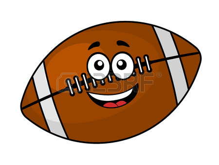 450x339 Happy Brown Leather Cartoon Football Or Rugby Ball, One Plain