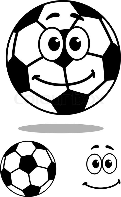 491x800 Smiling Black And White Vector Cartoon Football Or Soccer Ball