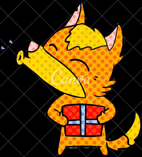 499x550 Cartoon Fox With Present