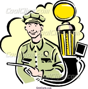 300x305 Gas Station Attendant Vector Clip Art