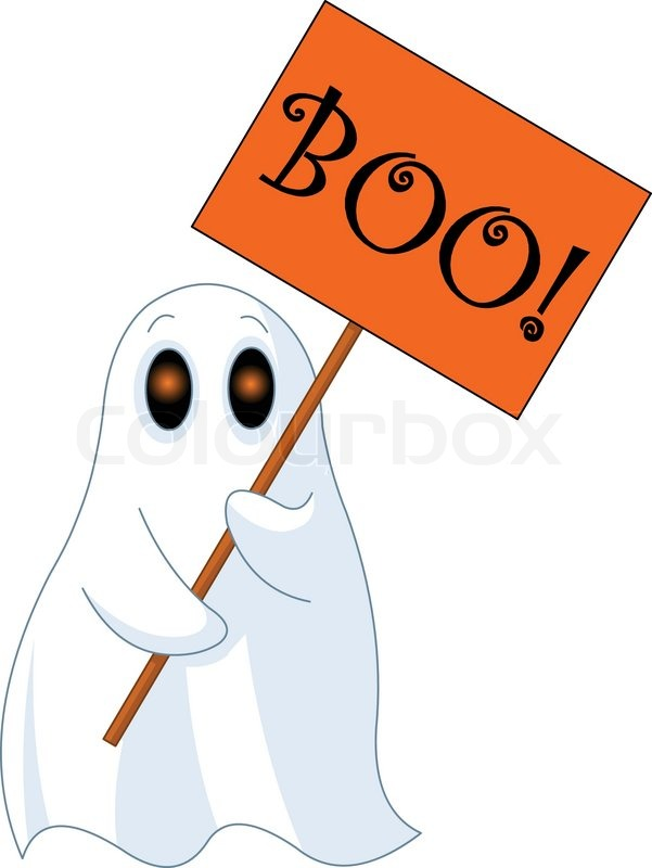 "601x800 Illustration of Very cute ghost with ""Boo"" sign Stock Vector"