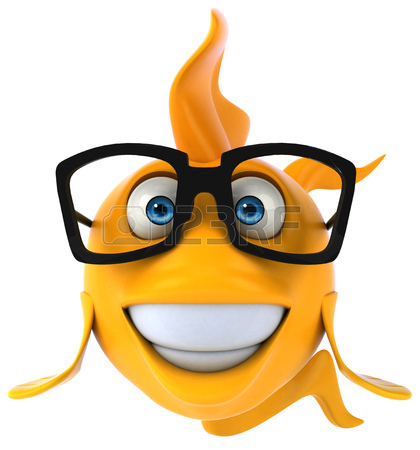420x450 Cartoon Fish With Glasses Smiling Stock Photo, Picture And Royalty