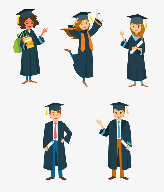 564x659 Graduates, Graduation Figures, Cartoon, Of Flat Flat Png Image