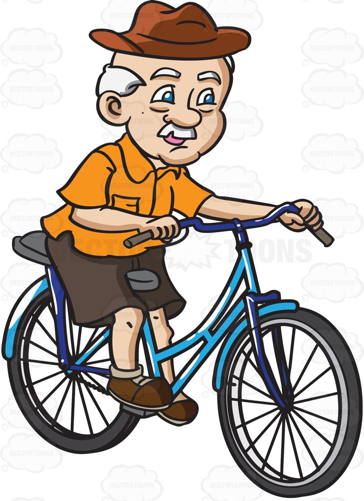 744x1024 A Grandpa With A Hat Rides A Bicycle Cartoon Clipart