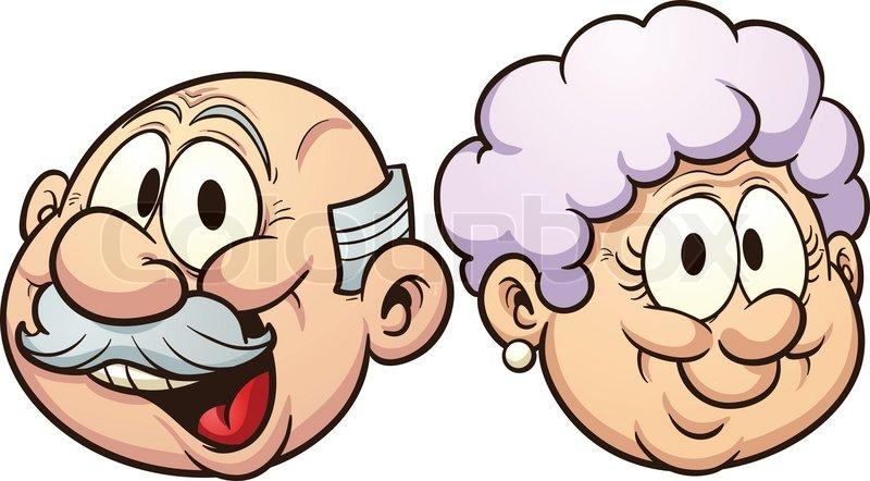 800x442 Cartoon Grandparents. Vector Clip Art Illustration With Simple