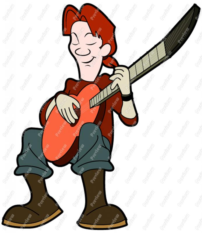 693x800 Man Playing Acoustic Guitar Character Clip Art