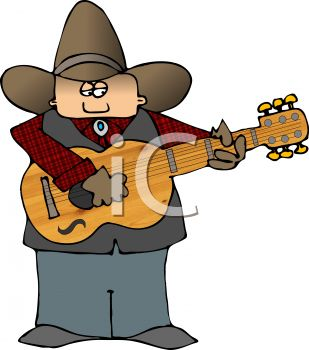 309x350 Cartoon Cowboy Playing A Guitar