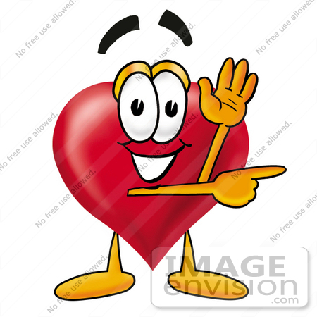450x450 Clip Art Graphic Of A Red Love Heart Cartoon Character Waving