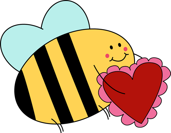550x429 Bee Carrying Valentine Heart Clip Art