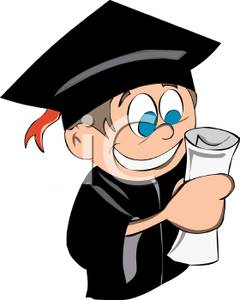 240x300 Colorful Cartoon Of A Graduate Holding His Diploma And Smiling