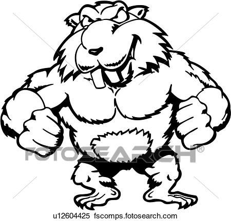 450x432 Clipart Of , Beaver, Cartoons, Dam, Mascot, Muscles, Animal
