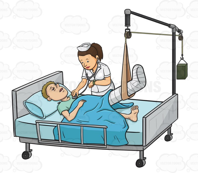 Cartoon hospital bed free download best cartoon hospital bed on 800x702 sick male patient laying in in a hospital bed while a nurse checks altavistaventures Images