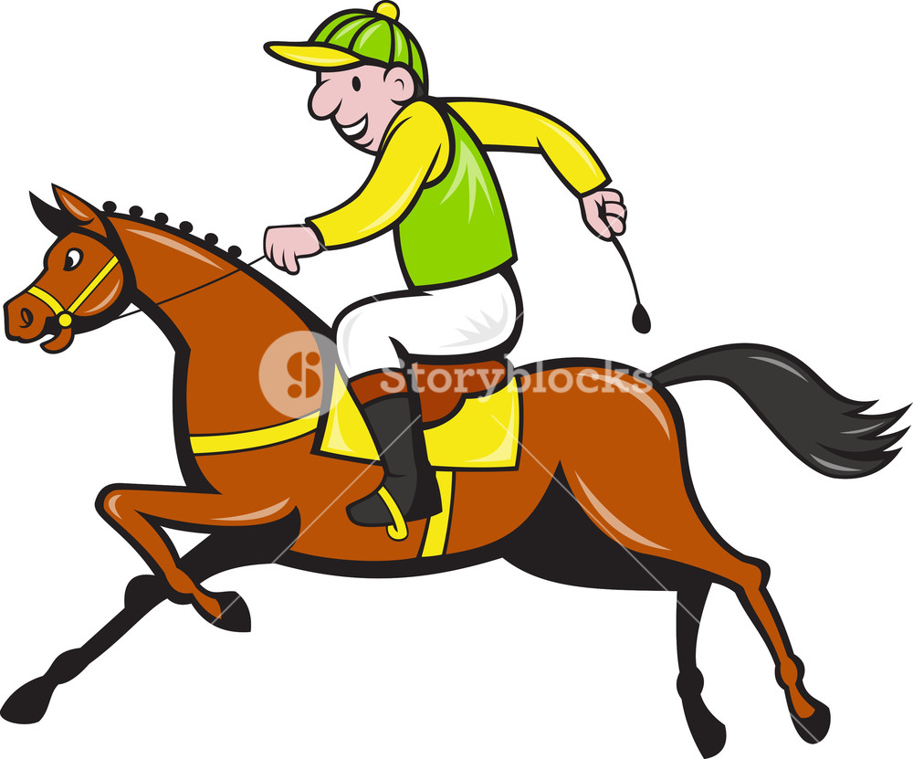 1000x831 Cartoon Jockey And Horse Racing Side Royalty Free Stock Image