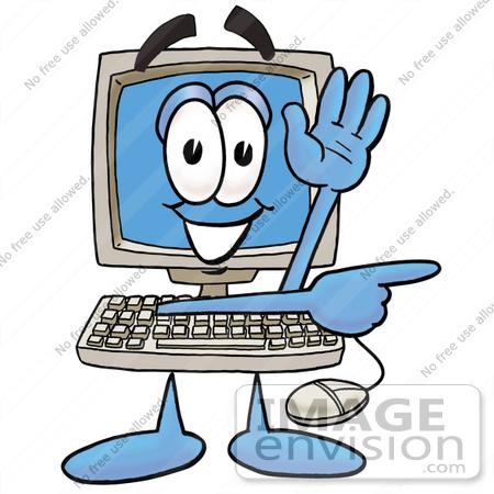 450x450 Clip Art Graphic Of A Desktop Computer Cartoon Character Waving
