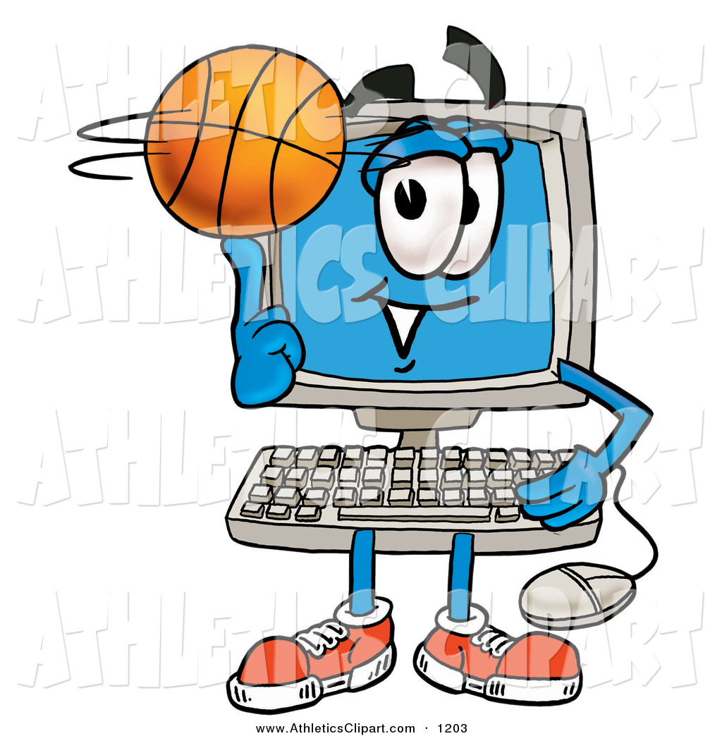 1024x1044 Clip Art Of A Happy Desktop Computer Mascot Cartoon Character