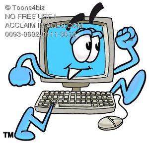 300x291 Illustration Of A Cartoon Computer Character Running
