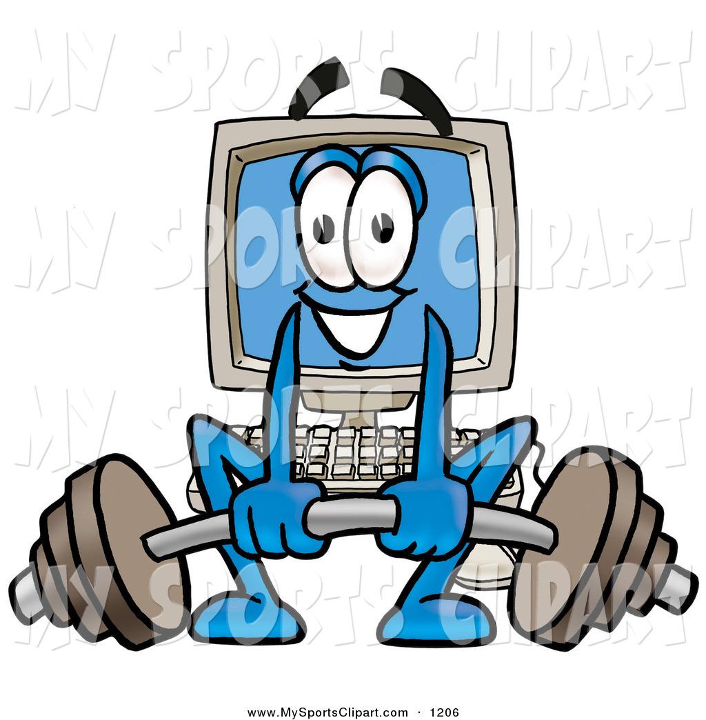 1024x1044 Sports Clip Art Of A Strong Desktop Computer Mascot Cartoon