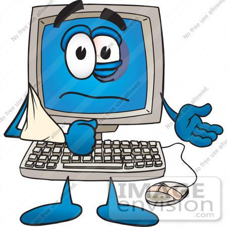 450x450 Clip Art Graphic Of A Beat Up Desktop Computer Cartoon Character