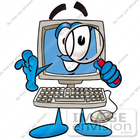 450x450 Clip Art Graphic Of A Desktop Computer Cartoon Character Looking