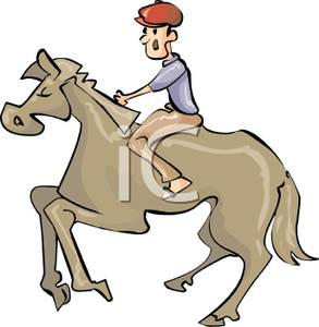 293x300 Colorful Cartoon Of A Jockey Exercising A Horse