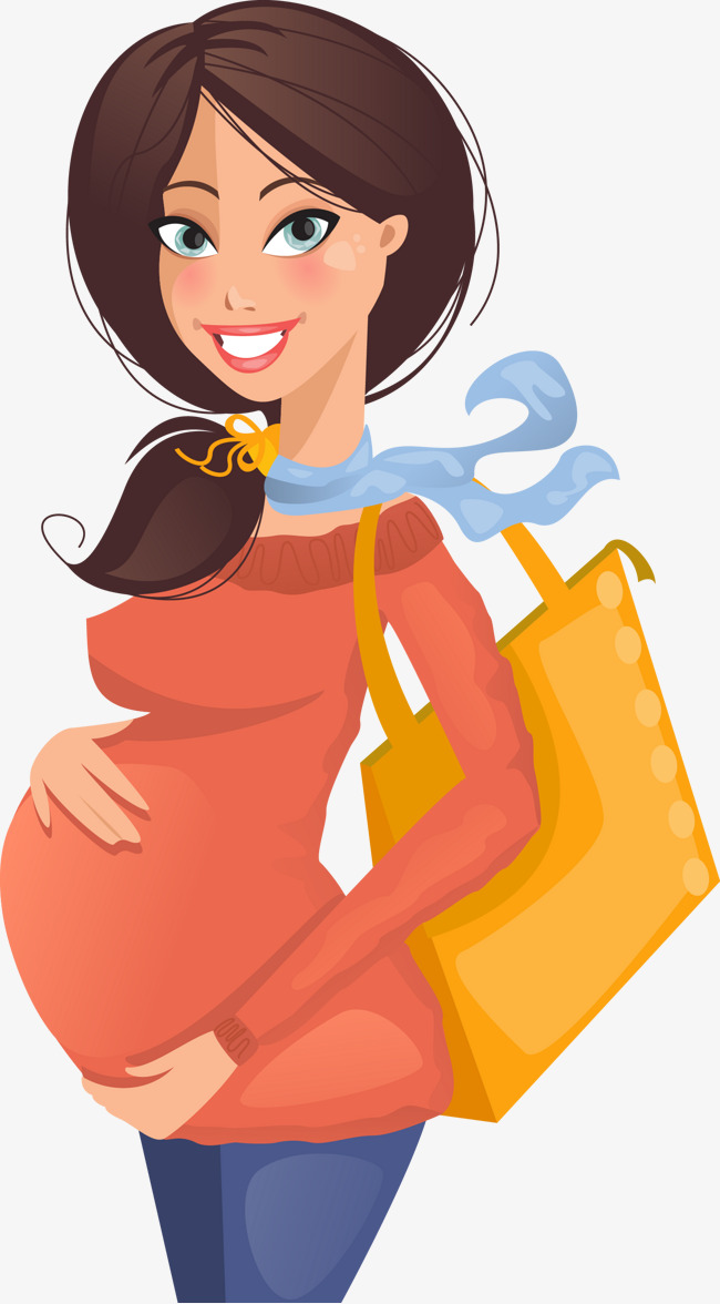 650x1176 Shopping For Pregnant Women Vector Material, Cartoon Creative