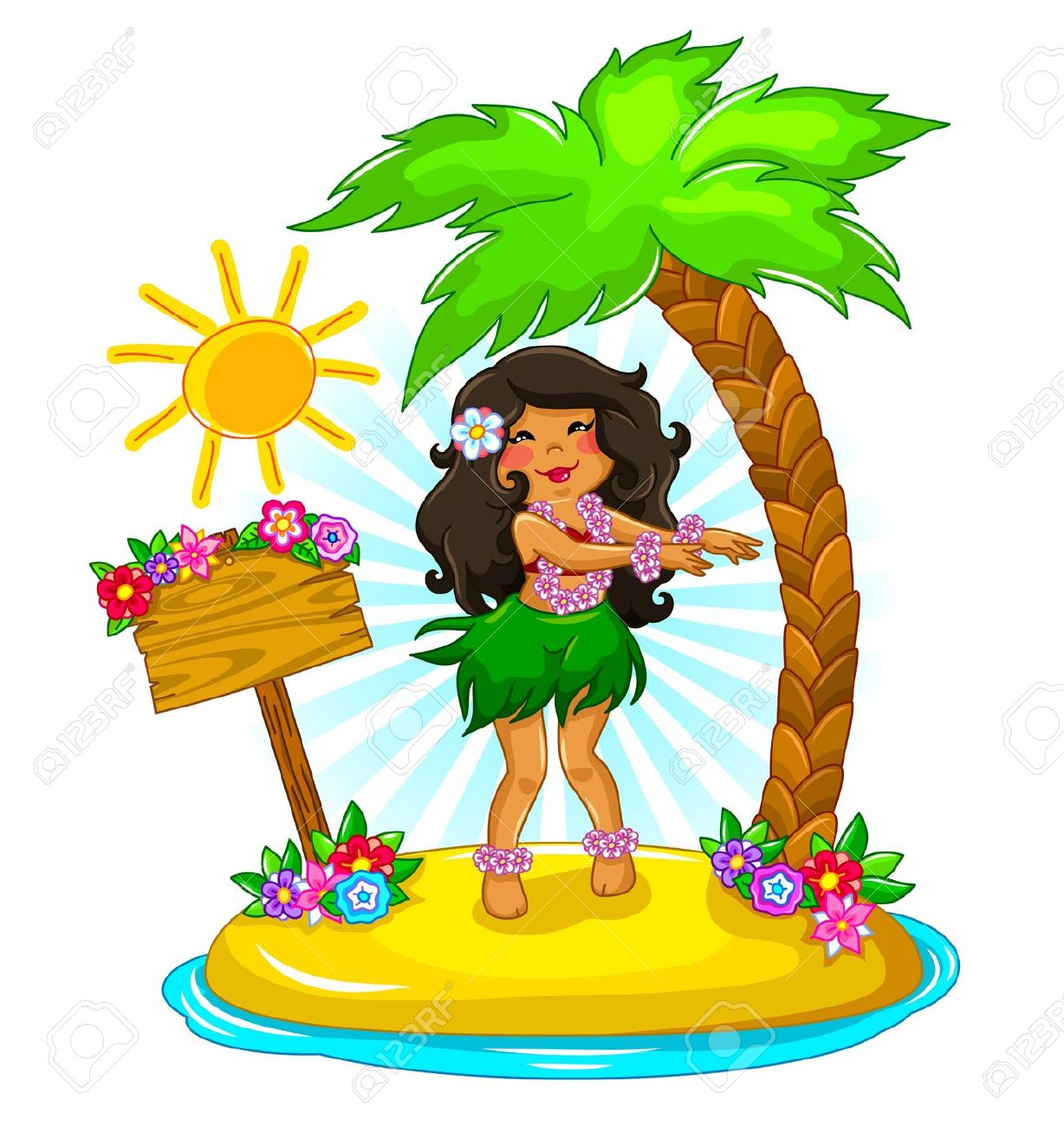 1228x1300 16511464 Girl Dancing Hula On A Tropical Island Stock Vector