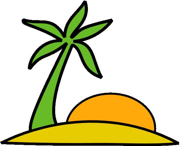 600x486 Island, Palm, And The Sun Clip Art