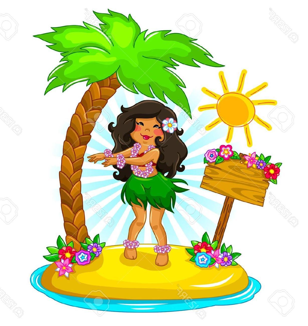 1228x1300 Best Free Girl Dancing Hula On Tropical Island Stock Vector