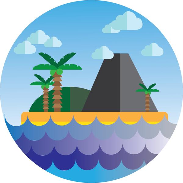 600x600 Island Cartoon Icon Free Vector In Adobe Illustrator Ai ( Ai