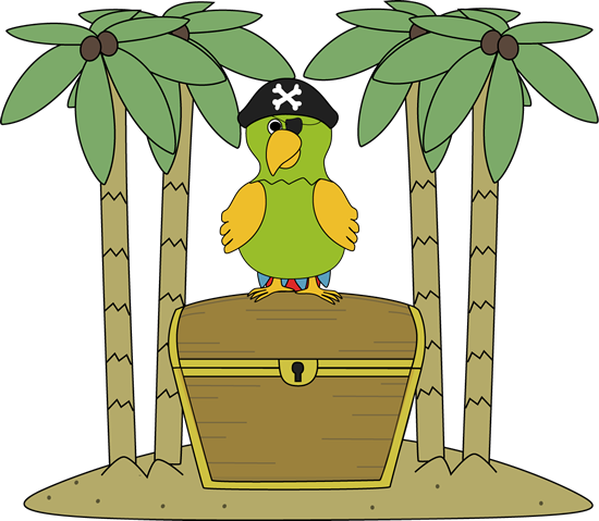 550x479 Pirate Parrot On An Island With Treasure Chest Clip Art