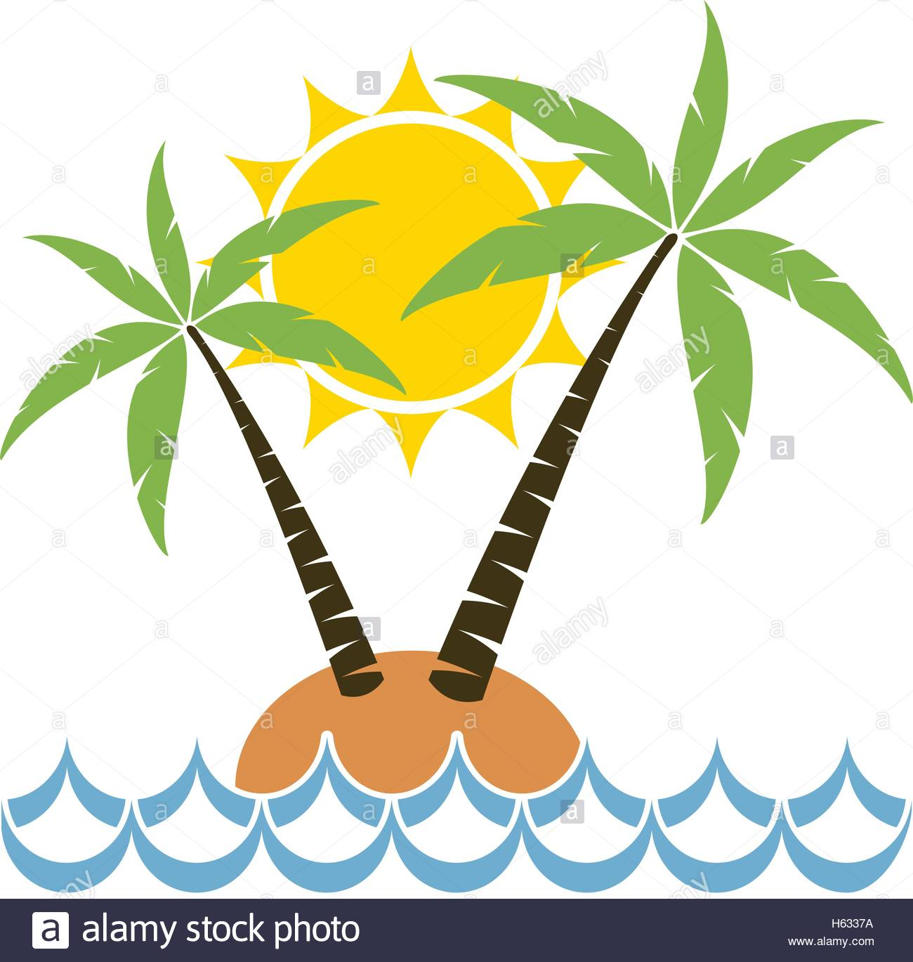 1300x1369 Vector Cartoon Of Palm Tree On A Small Island For Travel