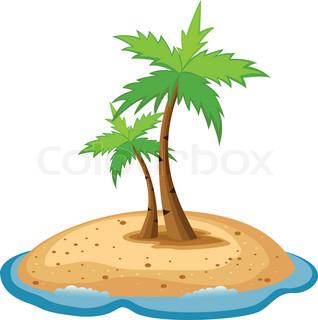 318x320 Bright Cartoon Palm Tree On Island Stock Vector Colourbox