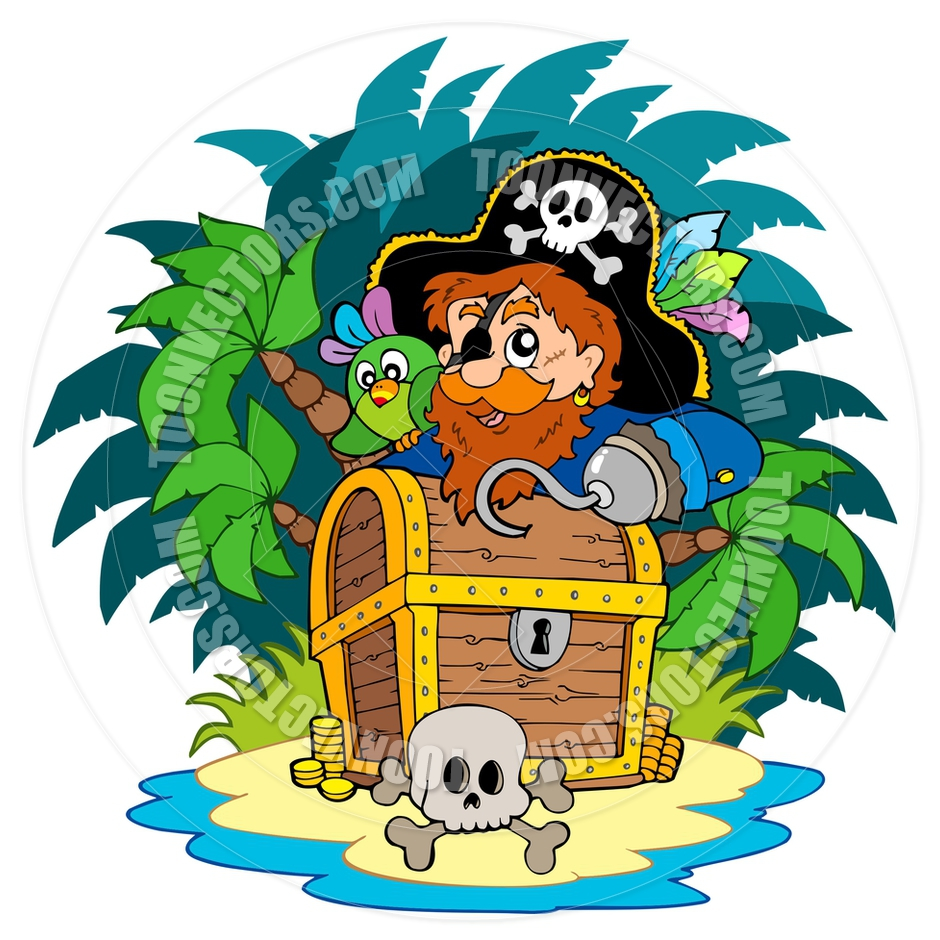 940x940 Cartoon Island With Pirate And Treasure Chest By Clairev Toon