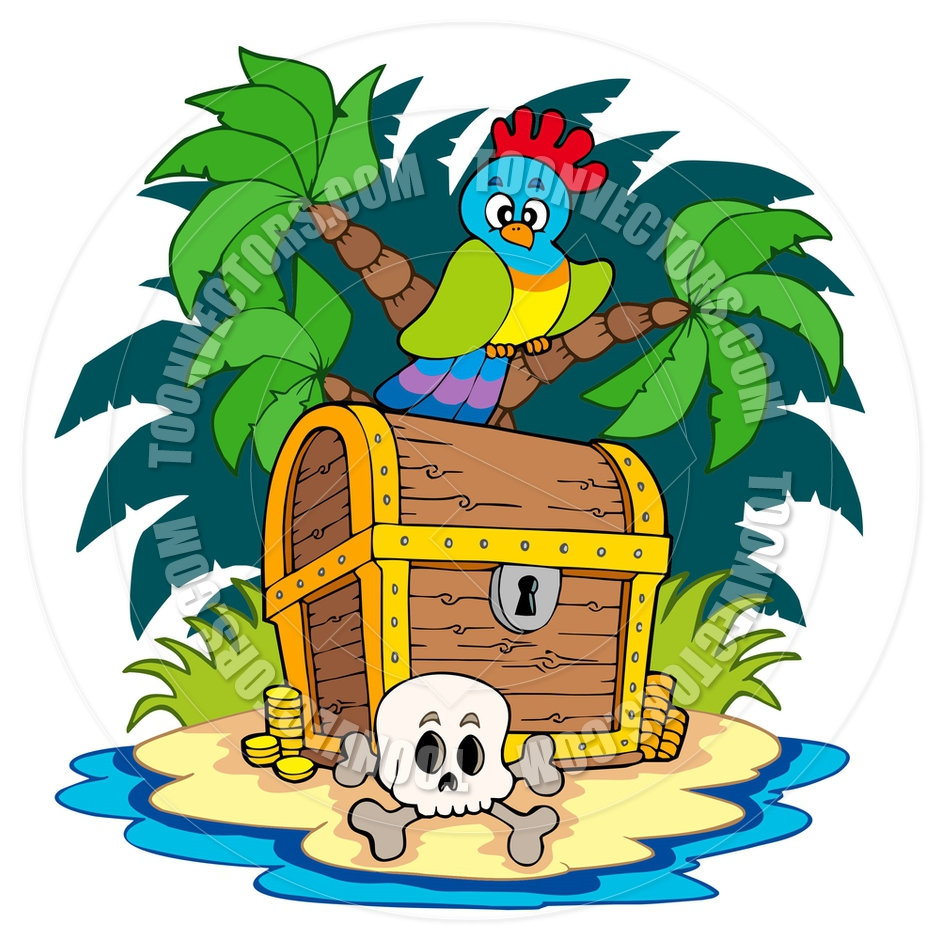 940x940 Cartoon Pirate Island With Treasure Chest By Clairev Toon