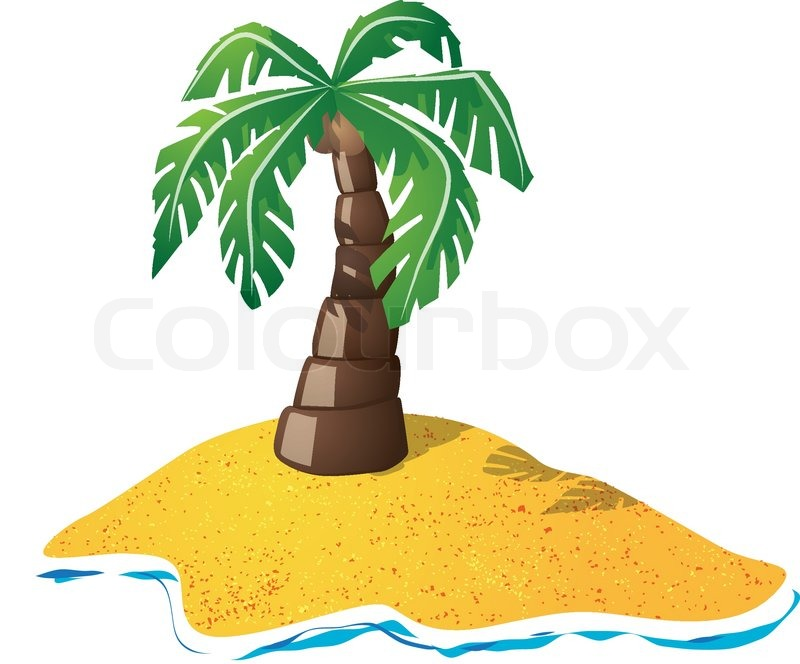 800x664 Cartoon Drawing Of Small Lonely Island With Palm Tree Stock